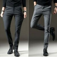 Mens Skinny Pencil Long Pants Formal Suit Strip Trousers Slim Fit Casual Pants