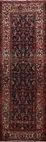 Vintage Geometric Hamedan All-Over Runner Rug Wool Traditional Hand-knotted 4x11