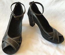 Indigo By Clarks Open Toe Black Leather Heels Shoes With Strappy 82761 Size 9M
