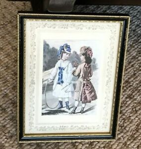 Early French Coloured Fashion Plate Framed Girls Park Hoop Dresses Hats