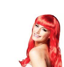 Red Chique Wig Ladies Fancy Dress Mermaid Ariel Adults Fairy Tale Costume