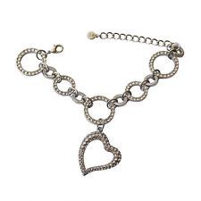 Everlast Silver Bracelet Heart Charm Clear White Swarovski Crystals Oliver Weber