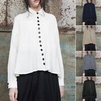 Womens Summer Long Sleeve Collar Trim Button Down V Neck Shirt Casual Blouse Top