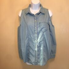 American Rag Cie womans Xsmall denim with lace back cold shoulder blouse