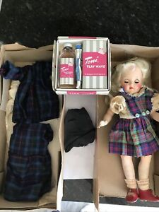 Ideal P-90 Toni Doll Blonde 1950's With Box Outfits & play wave