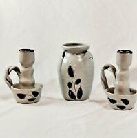 Vintage Williamsburg Salt Glazed Pottery Twisted Handle Candle Holders & Crock