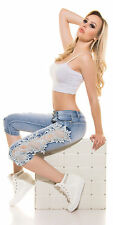 Sexy KouCla Push Up Capri Jeans mit Spitze XS 34 S 36 Kurze Hose