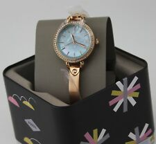 NEW AUTHENTIC FOSSIL CLASSIC ROSE GOLD CRYSTALS GREEN MOP WOMEN'S BQ3277 WATCH
