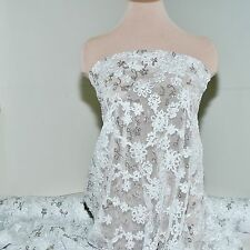 STRETCH MESH  LACE RIBBON SEQUIN FABRIC WHITE, PAGEANT ,FORMAL DRESS , BRIDAL