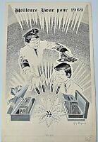AFFICHE PROJET PUB AIR FRANCE GUY DELAPLANCHE MEILLEURS VOEUX POUR 1969 G2150