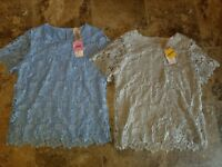 New Womens Philosophy Lace Top Short Sleeved Shirt Chambray Blue Vapor Gray