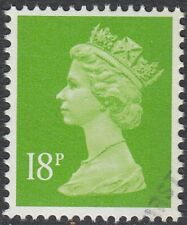 GB Stamps 1992, Decimal Machin 18p Bright Green, 1 Right Band, S/G X1012, VFUsed