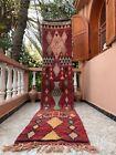 "Boujad Moroccan Handmade Vintage Runner 2'2""x8'2""Geometric Burgundy Rug"