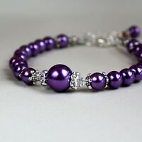 Purple vintage pearls crystals beaded bracelet party wedding bridesmaid gift