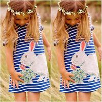 NEW Pretty Kids Baby Girls Cute Bunny Navy White Striped Cartoon Fashion Dress