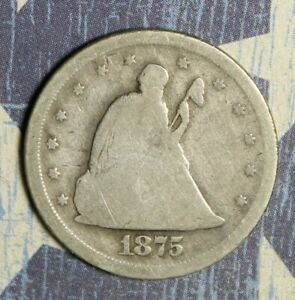 1875-S SEATED LIBERTY SILVER TWENTY CENT COLLECTOR COIN. FREE SHIPPING