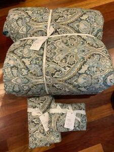 Pottery Barn MacKenna KING Comforter and 2 Quilted Shams NEW Blue