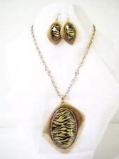Fashion Metal Chain Necklace Abstract Pendant Zebra Striped Animal Print Set