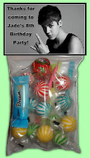 Personalised Justin Bieber Lolly Bags Set of 8 - Party Loot favour - Beiber