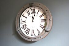 Porthole Wall Clock Industrial Vintage Nautical Style Metal