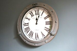 Porthole Wall Clock Industrial Vintage Nautical Style Metal FREE POSTAGE