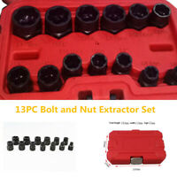 13xBlack Bolt&Nut Extractor Set Remover Damaged Rusted Socket Impact Wrench Tool