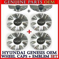 "HYUNDAI GENESIS Hood Trunk Emblem 18"" 2ea & Center Wheel Caps 4ea V6 3.8, V8 4.6"