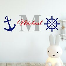 Personalised Childrens Name Nautical Wall Sticker Nursery Vinyl Bedroom Decal