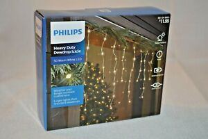 Philips HEAVY Duty DEWDROP Icicle 50 Warm White LED LIGHTS PARTY Decorate