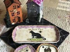 Connections Halloween Serving Plate Platter Vintage Advertising Black Cat New!
