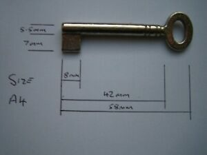 A4 Small Oval Key Blank for Antique Cabinet, Boxes, Furniture.Iron,Nickel Plated