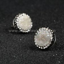 1 Pair Round Natural Agate Titanium AB Druzy Stud Earrings & CZ QJA206