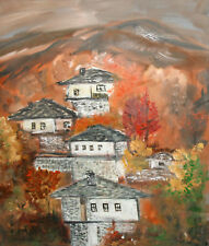 Mountain village post impressionist landscape oil painting