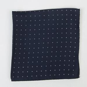 "Eton New Navy Blue White Small Square Silk Pocket square 12.5"" Made in Italy"