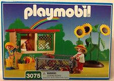 Playmobil 3075 Rabbit Hutch, Sunflowers, 2 Children, 9 Bunnies - NEW - HTF