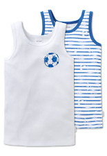 Schiesser Niños Camiseta Interior 2 Paquete Fútbol Gr 104-140 100% Co Ropa