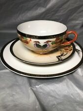 Vintage Japan Asian Porcelain Birds Tree Gold Red Lunch Tea Cup Plate Dish Set