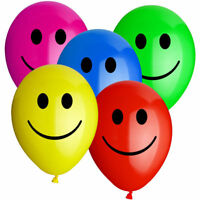 12 x COLOURFUL LARGE SMILEY ALL MIX PARTY BALLOONS Latex Rubber Happy Face