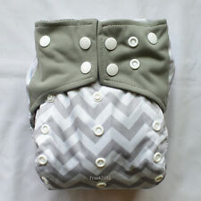 Charcoal Bamboo Baby Cloth Diaper Nappy Reusable Washable,2 Gussets,Gray Chevron