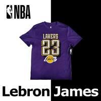 "LEBRON JAMES ""23"" NBA SHIRT PURPLE GOLD LOS ANGELES LAKERS VTM7833F MEDIUM"