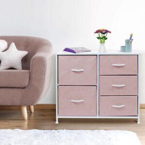 Sorbus Dresser 5 Drawers Bedside Furniture & Night Stand,Steel Frame, Wood Top