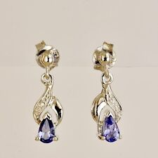 NATURAL TANZANITE DIAMOND EARRINGS PETITE 9K 375 WHITE GOLD DROPS GIFT BOXED NEW