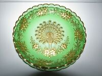 Antique Bohemian Art Glass Intaglio Cut Gold Decorated Peacock Bowl 910