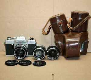 TOPCON Beseler Auto 100 TOKYO KOGAKU Japan 35mm Camera Rare Lenses and Case
