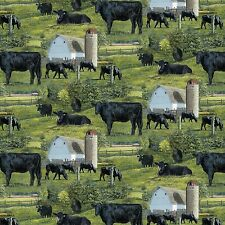 Wild Wings Black Angus Cow Scenic 100% cotton fabric by the yard