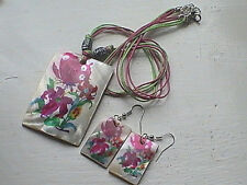 native american shell necklace earring set hand painted BLESSED NATURE BUTTERFLY