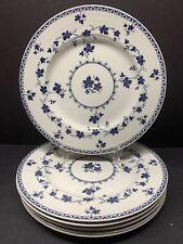 "VTG ROYAL DOULTON ENGLAND YORKTOWN WHITE & BLUE PATTERN 8"" SALAD PLATE SET OF 6"
