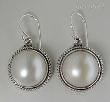 Mabe Pearl Solid Silver, 925 Balinese Traditional Design Earring 34292