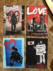 Banksy Valentines Day graffiti street art Four Canvas ACEOs Love Lennon