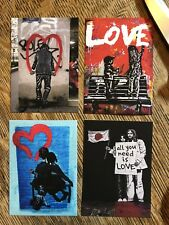Banksy Valentines Day graffiti street art Four Canvas ACEOs Love Lennon